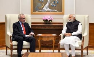 President, European Investment Bank, Dr. Werner Hoyer calling on the Prime Minister Narendra Modi