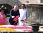 Prime Minister of Malaysia, Dato' Sri Mohd Najib Bin Tun Abdul Razak paying floral tributes at the Samadhi of Mahatma Gandhi,