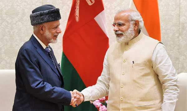 The Oman Foreign Minister, Yousuf bin Alawi bin Abdullah calls on the Prime Minister, Narendra Modi, in New Delhi on April 03, 2017.