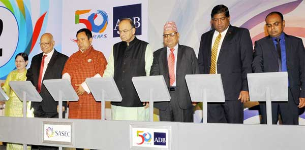 The Union Minister for Finance, Corporate Affairs and Defence, Arun Jaitley along with the Finance Ministers of Bangladesh, Bhutan, Maldives, Myanmar, Nepal, Sri Lanka launching the SASEC Vision, at the South Asia Subregional Economic Cooperation (SASEC) Finance Ministers' meeting, in New Delhi on April 03, 2017.