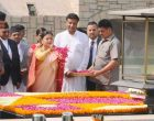President of Nepal, Bidya Devi Bhandari paying floral tributes at the Samadhi of Mahatma Gandhi, at Rajghat,