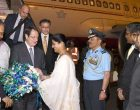 President of the Republic of Cyprus, Nicos Anastasiades being received by the MoS for Health & Family Welfare, Anupriya Patel,
