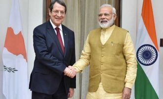 Prime Minister, Narendra Modi meeting the President of the Republic of Cyprus, Nicos Anastasiades