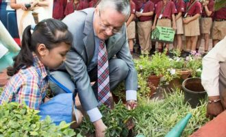 Egyptian Ambassador to India, H.E. Hatem Tageldin's participation in the tree plantation drive at Delhi-NCR Schools.
