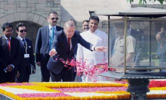 President of the Republic of Turkey, Recep Tayyip Erdogan paying floral tributes at the Samadhi of Mahatma Gandhi, at Rajghat