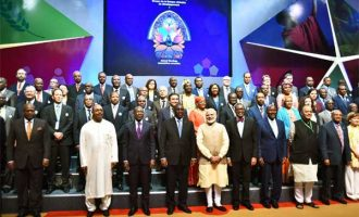 PM, Narendra Modi with the foreign delegates at the 52nd African Development Bank Annual meetings,