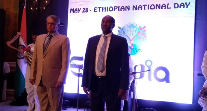 Shri Amar Sinha, Secretary [Economic Relations], MEA as Chief Guest with Ambassador of Ethiopia to India, H. E. Mr. Asfaw Dingamo Kame at the National Day Reception of Ethiopia in New Delhi