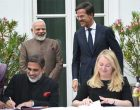 Prime Minister, Narendra Modi and the Prime Minister of Netherlands, Mark Rutte witnessing the signing of MoUs between India and Netherlands