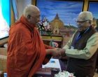 Uttar Pradesh Governor, Ram Naik being greeted by world renowned Buddhist Scholar at International meet at Myanmar