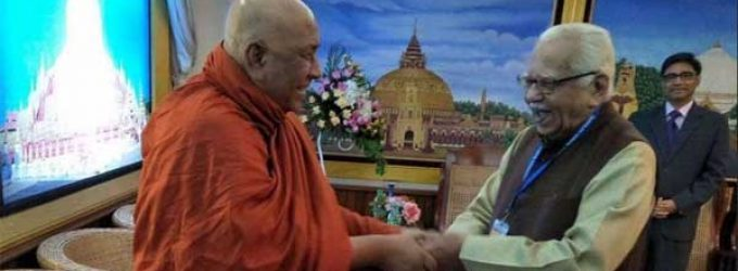 Uttar Pradesh Governor, Ram Naik being greeted by world renowned Buddhist Scholar at International meet at Myanmar