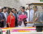 Prime Minister of Nepal, Sher Bahadur Deuba paying floral tributes at the Samadhi of Mahatma Gandhi, at Rajghat