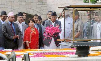 Prime Minister of Nepal, Sher Bahadur Deuba paying floral tributes at the Samadhi of Mahatma Gandhi, at Rajghat