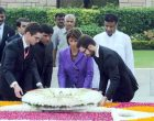 President of Switzerland, Doris Leuthard laying wreath at the Samadhi of Mahatma Gandhi, at Rajghat