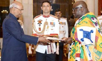 High Commissioner-designate of Ghana, Michael Aaron Nii Nortey Oquaye presenting his Credentials to the President, Ram Nath Kovind