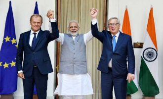 PM, Narendra Modi with the President, European Council, Donald Franciszek Tusk and the President, European Commission, Jean-Claude Juncker