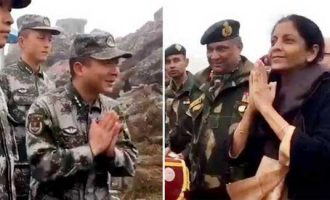 Sitharaman teaches 'namaste' to Chinese troops