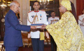 Ambassador-Designate of Gambia, Jainaba Jagne presenting her credentials to the President, Ram Nath Kovind