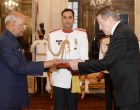 Ambassador-Designate of the Russian Federation, Nikolay Rishatovich Kudashev presenting his credentials to the President, Ram Nath Kovind