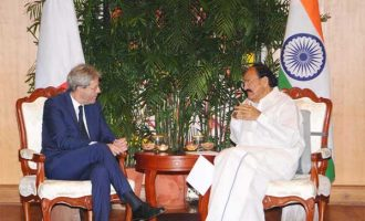 Prime Minister of the Republic of Italy, Paolo Gentiloni calling on the Vice President, M. Venkaiah Naidu