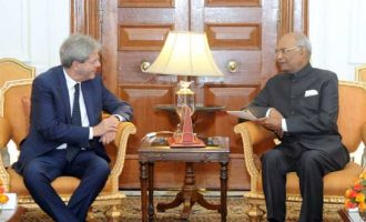 Prime Minister of the Republic of Italy, Paolo Gentiloni meeting the President, Ram Nath Kovind