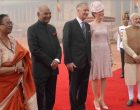 The President of India, Ram Nath Kovind, receives Their Majesties the King & the Queen of the Belgians during his ceremonial reception