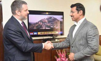 Ambassador of Serbia to India, Vladimir Maric meeting the MoS for Youth Affairs and Sports (I/C) and I&B, Col. Rajyavardhan Singh Rathore
