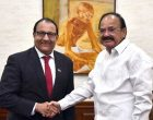 Minister of Trade and Industry of the Republic of Singapore, S. Iswaran calling on the Vice President, M. Venkaiah Naidu,