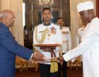 The High Commissioner-Designate of Republic of Nigeria, Major General Chris Sunday Eze (Retd) presenting her credentials to the President, Ram Nath Kovind