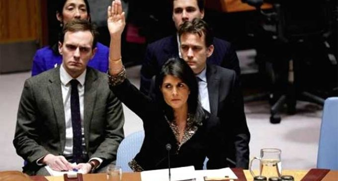 US vetoes UNSC resolution criticising its Jerusalem decision