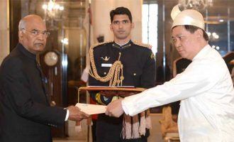 Ambassador Designate of the Republic of the Union of Myanmar, Moe Kyaw Aung presenting his credentials to the President, Ram Nath Kovind