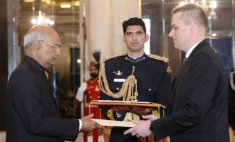 Ambassador Designate of the Republic of Poland, Adam Burakowski presenting his credentials to the President, Ram Nath Kovind, at Rashtrapati Bhavan