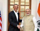 Prime Minister Narendra Modi meeting the former US President, Mr. Barack Obama, in New Delhi on December 01, 2017