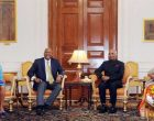 His Majesty King Letsie III, King of Lesotho and Her Majesty Queen Masenate Mohato Seeiso meeting the President, Ram Nath Kovind,