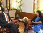 High Commissioner of Sri Lanka to India, Chitranganee Wagiswara meeting the MoS for Tourism (I/C) and Electronics & Information Technology, Alphons Kannanthanam