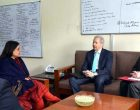 US Ambassador to India, Kenneth Juster calling on the Union Minister for Women and Child Development, Maneka Sanjay Gandhi,