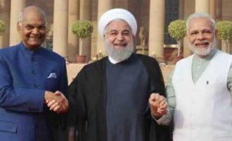 The President of India, Ram Nath Kovind, during the Ceremonial Reception of Dr. Hassan Rouhani, President of the Islamic Republic of Iran