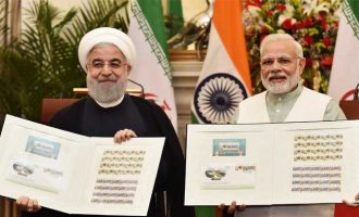 Prime Minister, Narendra Modi and the President of the Islamic Republic of Iran, Dr. Hassan Rouhani releasing the commemorative stamp