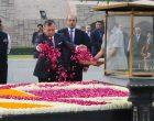 The King of Jordan His Majesty Abdullah II Bin Al-Hussein paying floral tributes at the Samadhi of Mahatma Gandhi, at Rajghat,