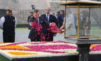 The King of Jordan His Majesty Abdullah II Bin Al-Hussein paying floral tributes at the Samadhi of Mahatma Gandhi, at Rajghat,