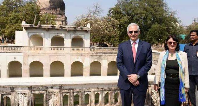 US Ambassador visits Qutb Shahi Tombs to see restoration work
