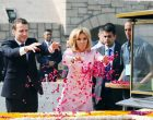 President of the French Republic, Emmanuel Macron paying floral tributes at the Samadhi of Mahatma Gandhi,