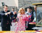 President of the French Republic, Emmanuel Macron paying floral tributes at the Samadhi of Mahatma Gandhi,