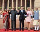 The President, Shri Ram Nath Kovind and the Prime Minister, Shri Narendra Modi with the President of the French Republic, Mr. Emmanuel Macron