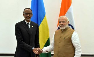 The Prime Minister, Shri Narendra Modi meeting the President of Rwanda, Mr. Paul Kagame