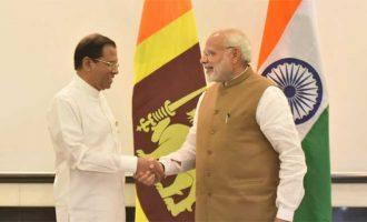 Prime Minister, Shri Narendra Modi meeting the President of the Democratic Socialist Republic of Sri Lanka, Mr. Maithripala Sirisena,