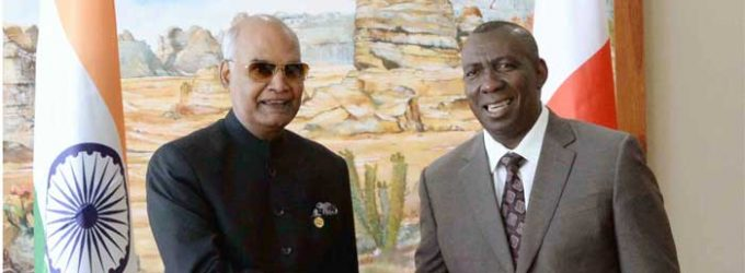 President, Ram Nath Kovind meeting the Prime Minister of Madagascar, Olivier Mahafaly Solonandrasana
