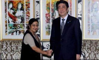 Sushma Swaraj calls on Japanese PM