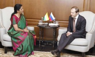 Minister of Industry & Trade, Russia, Mr Denis Manturov meets Raksha Mantri Smt Nirmala Sitharaman