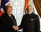 Prime Minister, Shri Narendra Modi meeting the Prime Minister of Norway, Ms. Erna Solberg