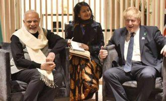 Prime Minister, Narendra Modi meeting the UK Foreign Secretary, Boris Johnson